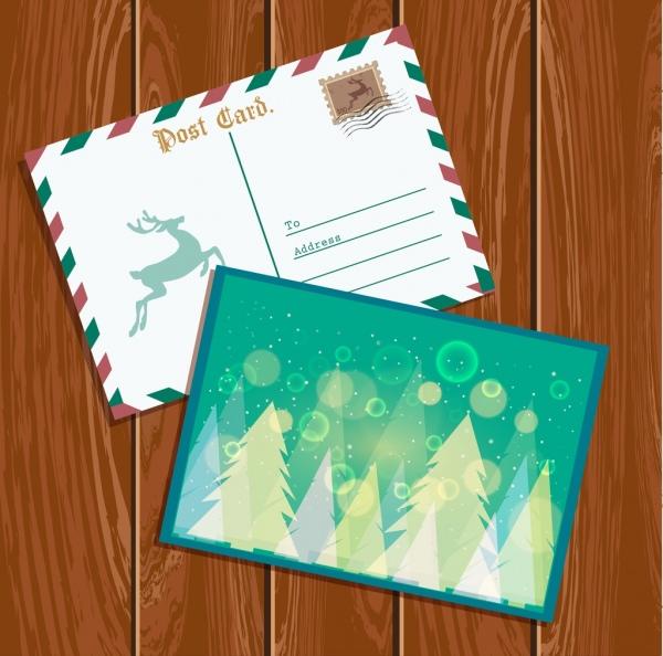 christmas postcard template classical envelope sparkling bokeh