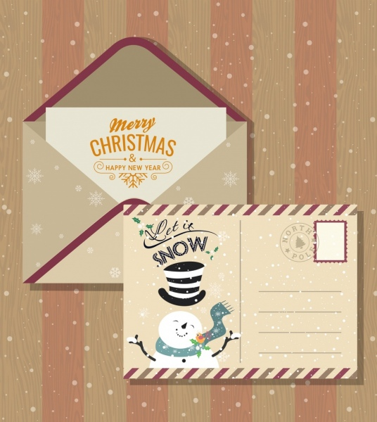 christmas postcard template classical snowman snowflakes decor