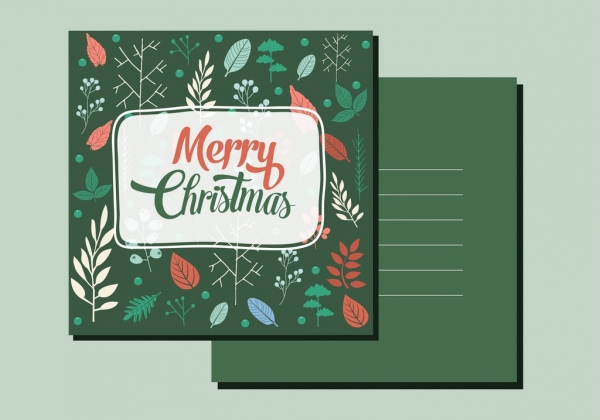 christmas postcard template dark green ornament leaves icons