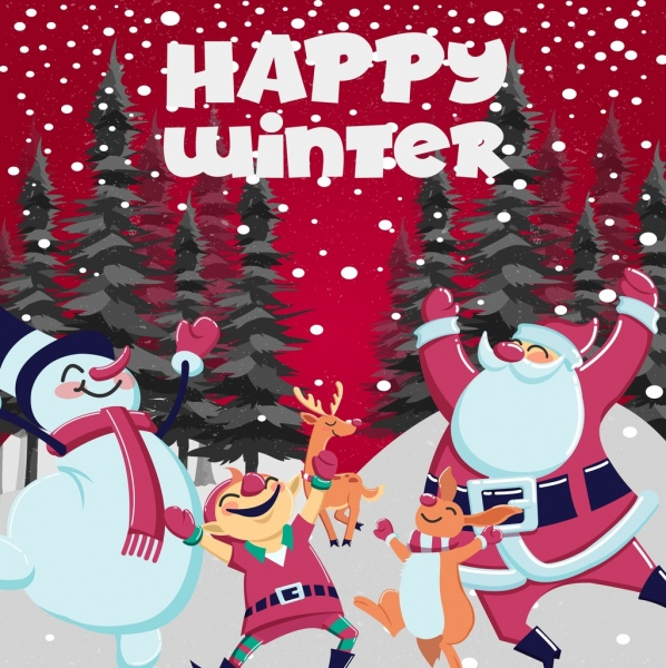 christmas poster playful santa snowman reindeer rabbit icons
