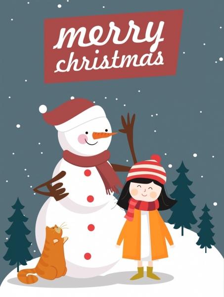 christmas poster snowman girl icons colored cartoon design