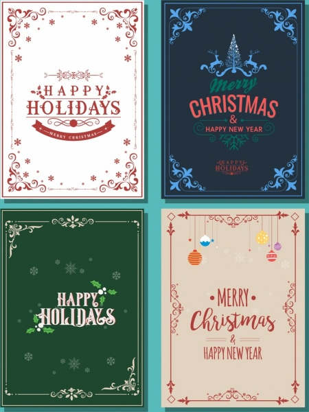 Christmas poster templates classical decorative corner decor Free ...