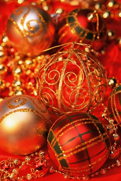 christmas red gold ball definition picture