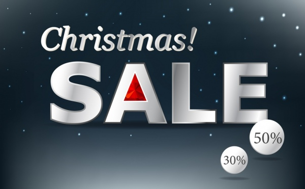 christmas sale banner shiny white texts decoration