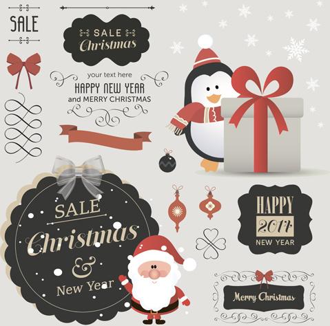christmas sale labels elements vector