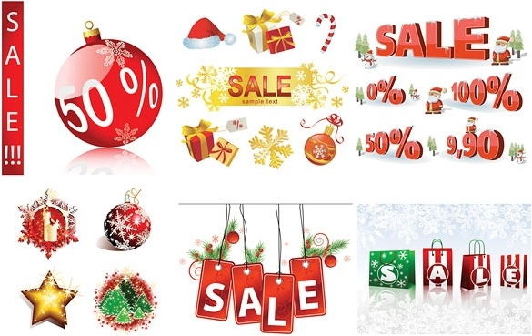 christmas sales discount decorative elements vector free vector in
