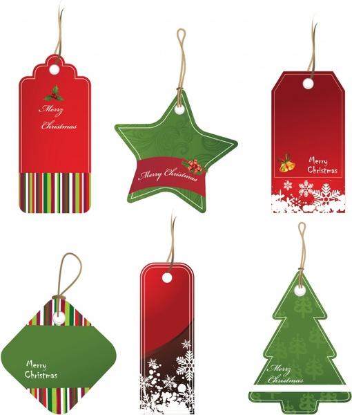 christmas hang tag templates colored flat shapes decor