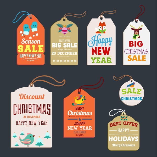 christmas sales tags collection various shaped symbol elements