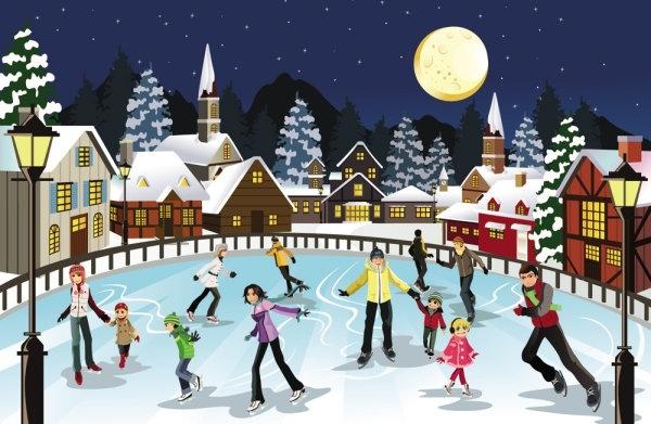 christmas scene illustration 04 vector free vector 168mb