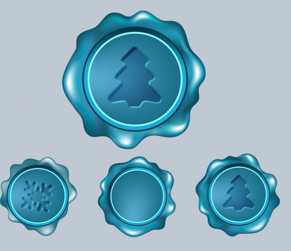 christmas seals collection shiny blue circle isolation