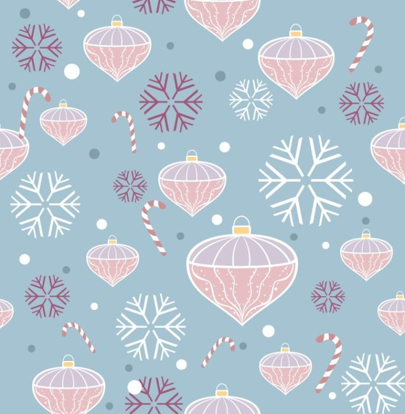 chrismas background baubles snowflakes sticks icons classical repeating