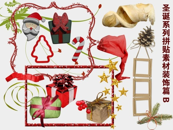 christmas series of collage decorative articles b