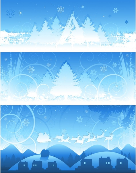 christmas background templates blue white classical elements design
