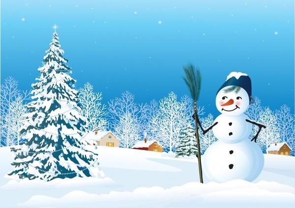 christmas background cute snowman winter scene decor