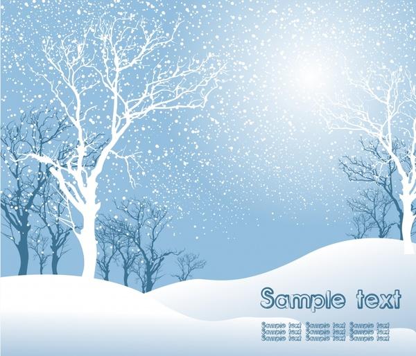 winter scene background bright design treess snow decor