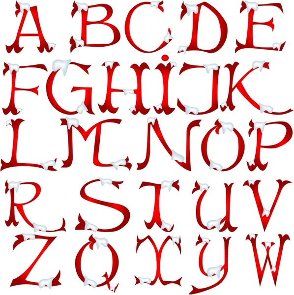 Christmas Snow Vector English Font Alphabet