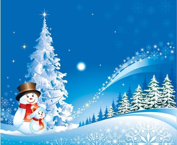 christmas snowman snow vector