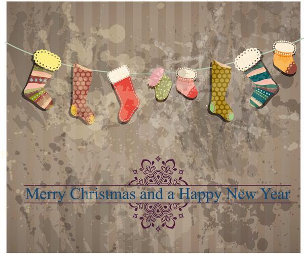 christmas sock hang on grunge background