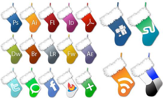 christmas socks icon vector