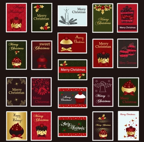 christmas stamps collection dark colorful classical decor