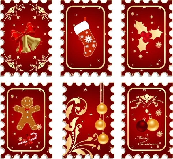 christmas stamps templates red design baubles icons decor