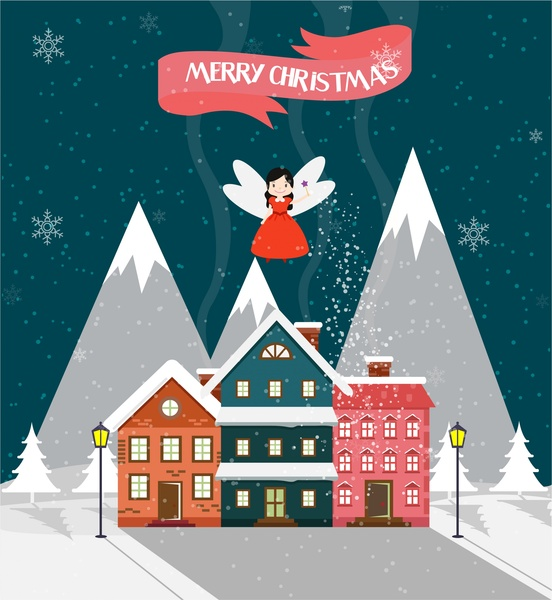 Christmas Template Design Cute Fairy And House Design Free