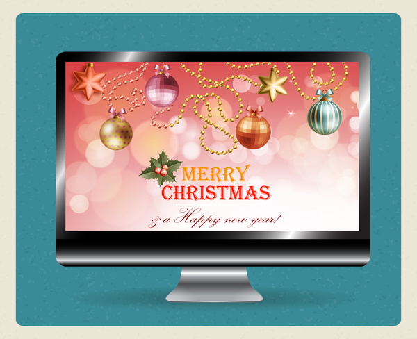 Christmas template design on computer screen Free vector in Adobe ...
