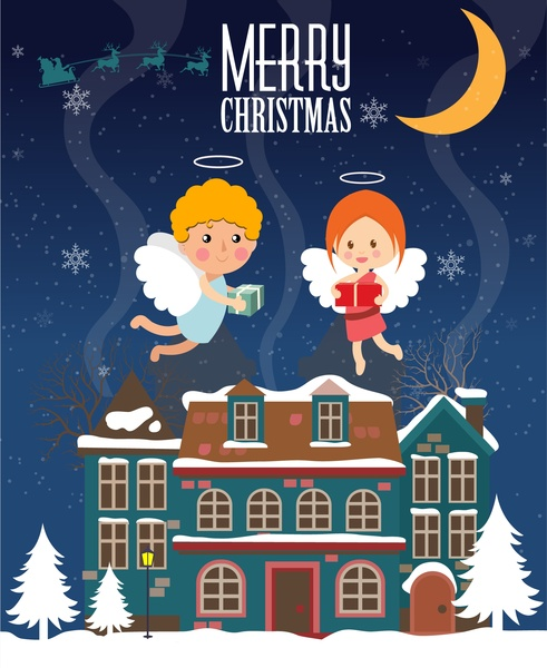 Christmas Template Design With Angles Flying Above House