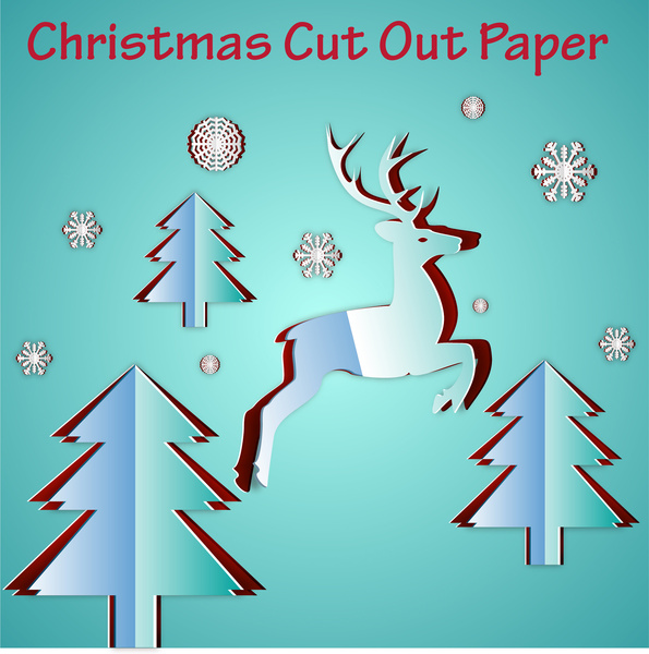 Christmas Template Design With Cut Out Paper Style Free Vector In