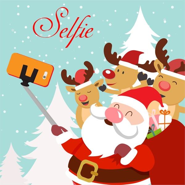 christmas template illustration with selfie santa and reindeers free