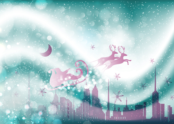 christmas template with flying santa on bokeh background