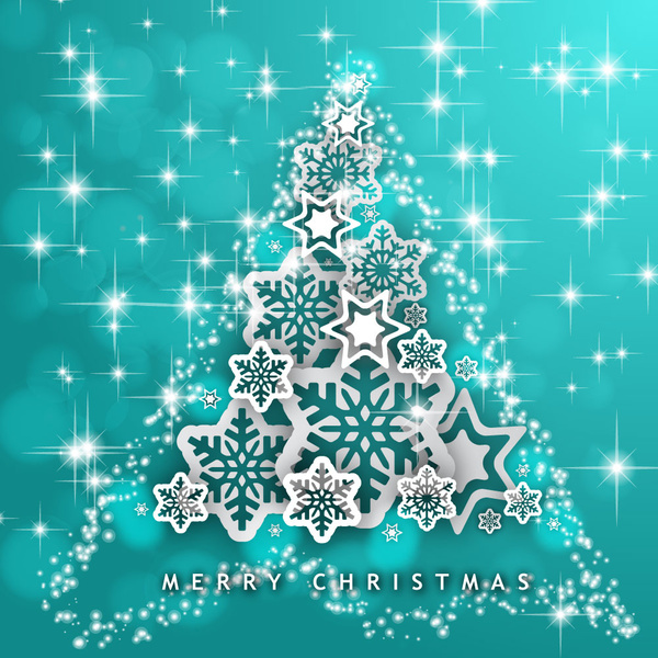 christmas tree background with full of stars and flakes