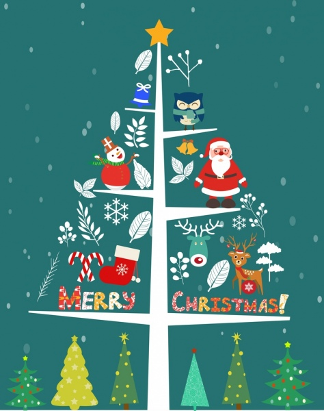 christmas tree icon various gifts decoration flat design