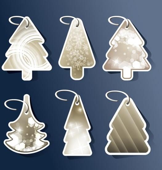 christmas tags templates fir tree shapes elegant decor