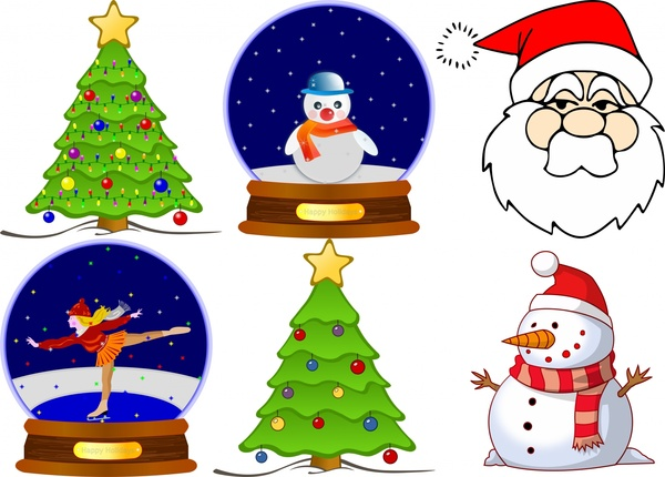 Christmas Tree Snowman Globe Santa Free Vector In Open Office