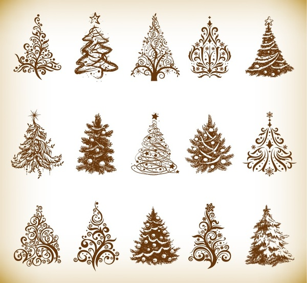 Christmas Tree Vector Graphics Set Free Vector In Encapsulated
