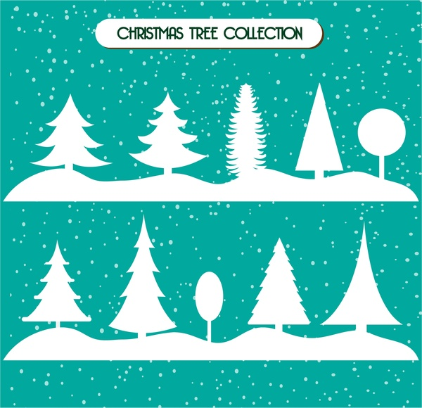 Christmas Trees Silhouette.Christmas Trees Collection In White Silhouette Style Free