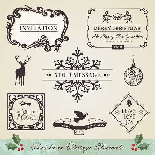 christmas vintage ornaments elements vector set