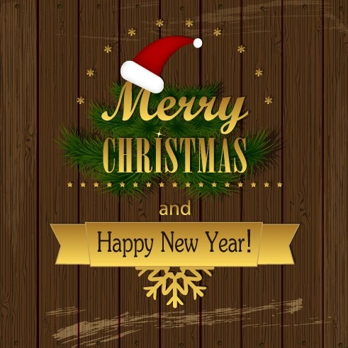 christmas wood background vector
