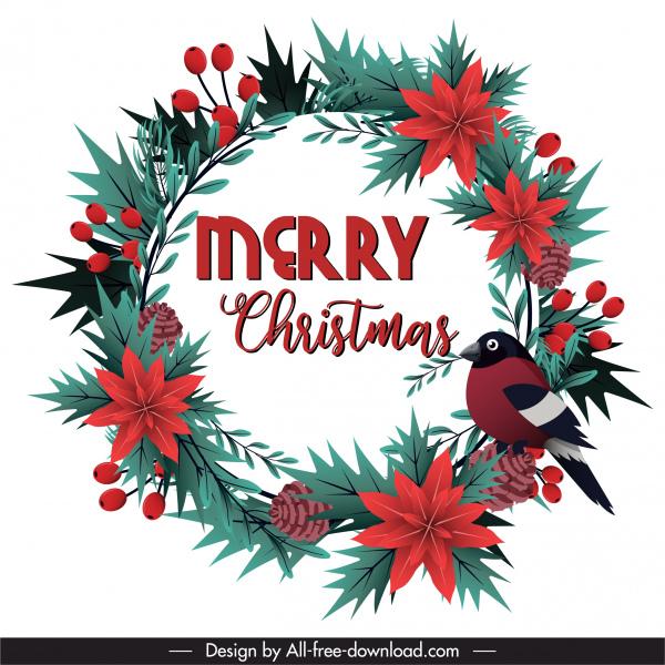 christmas wreath template colorful floral pine bird decor