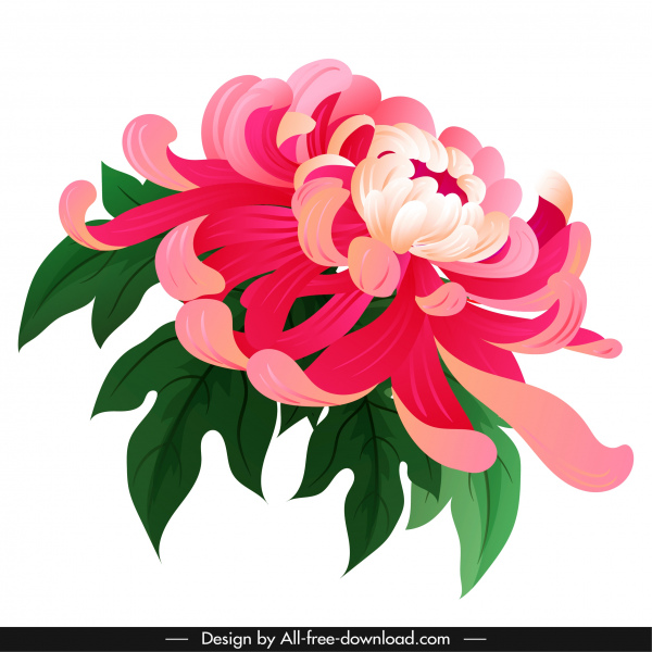 chrysanthemum petals painting colorful classical 3d sketch