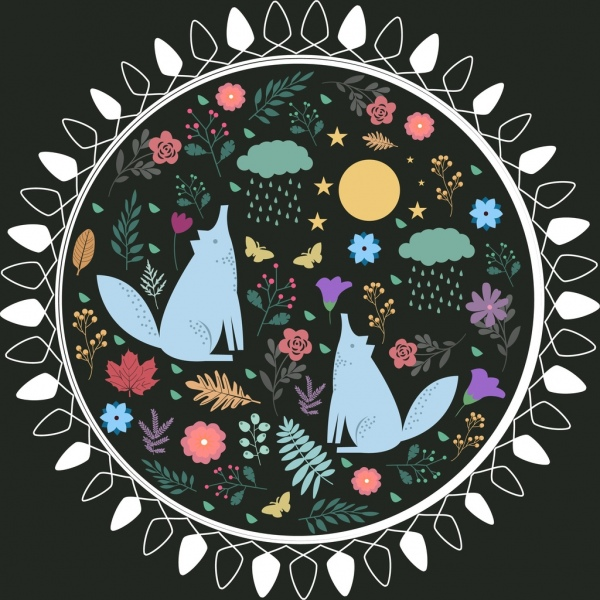 circle decor cartoon animal flowers icons colored flat