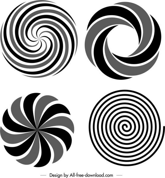 circle twisted shapes templates black white delusion sketch free