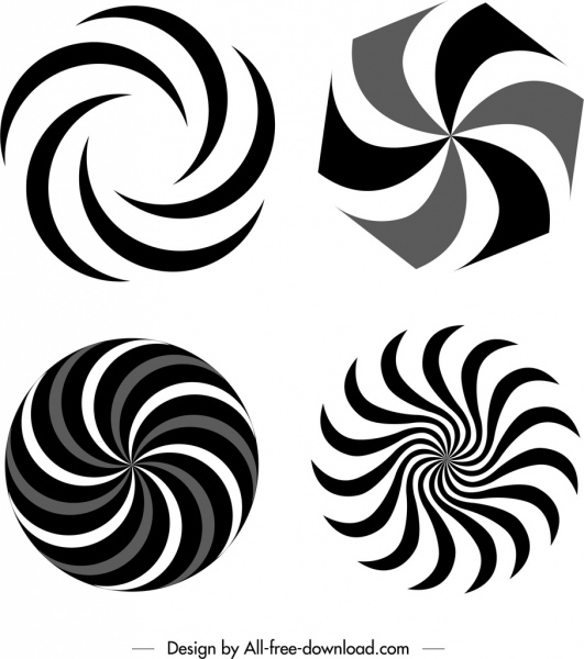 circle twisted templates black white flat sketch