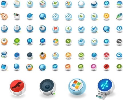 ui icons collection 3d colorful circles design