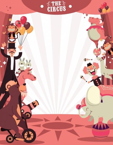 circus background animal performance icons cartoon design