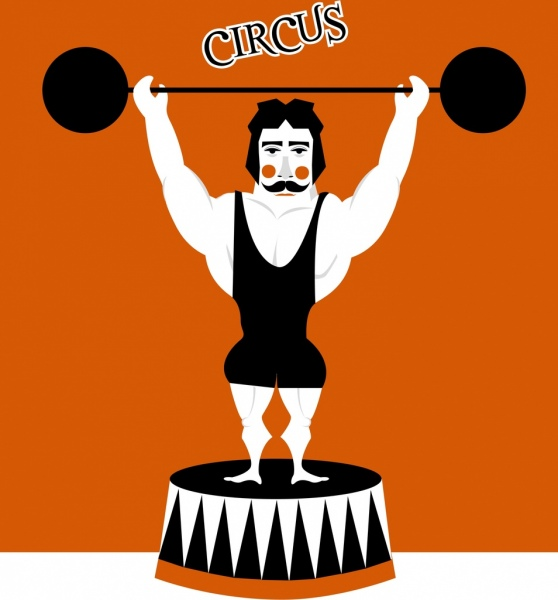 circus background athlete icon cartoon character
