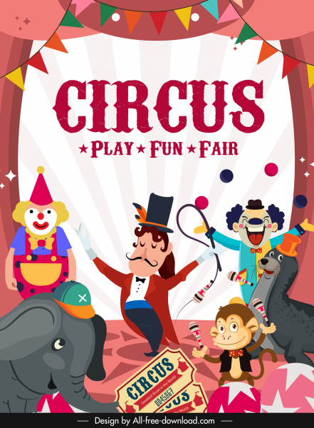 circus banner funny dynamic design stage performance sketch