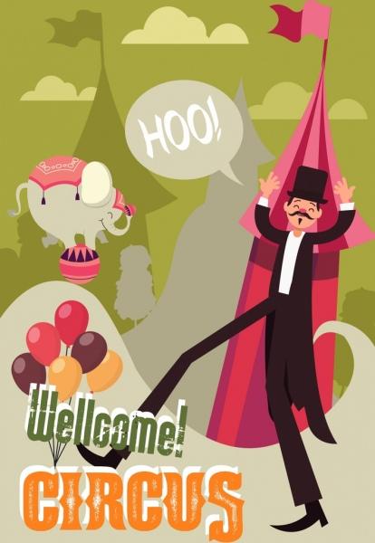circus banner man elephant balloon tent icons decor