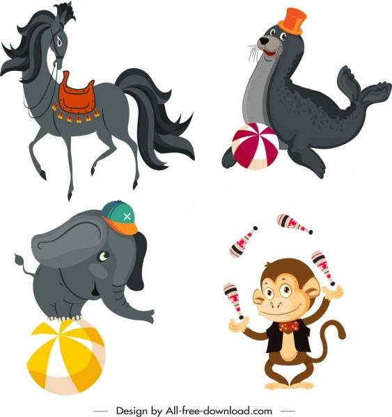 circus design elements horse seal monkey elephant sketch